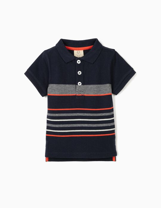 Striped Polo Shirt for Baby Boys, Dark Blue