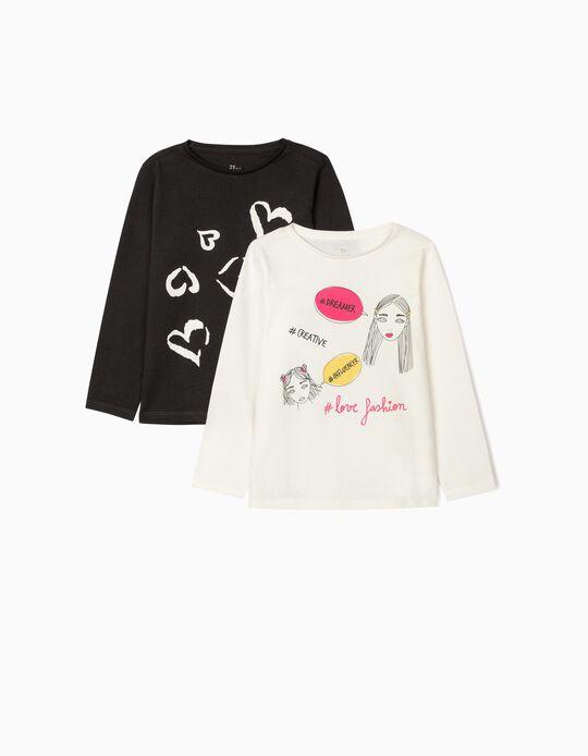 2 T-shirts Manga Comprida para Menina 'Fashion', Cinza/Branco