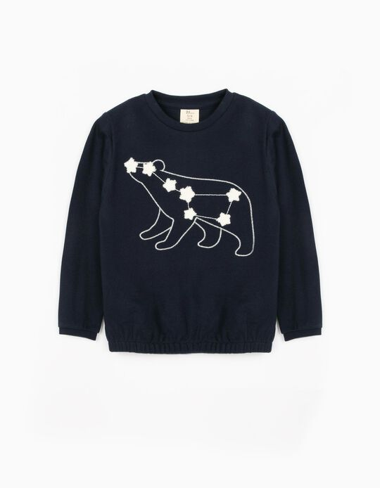 Piqué Knit Sweatshirt for Girls, 'Ursa Major', Dark Blue