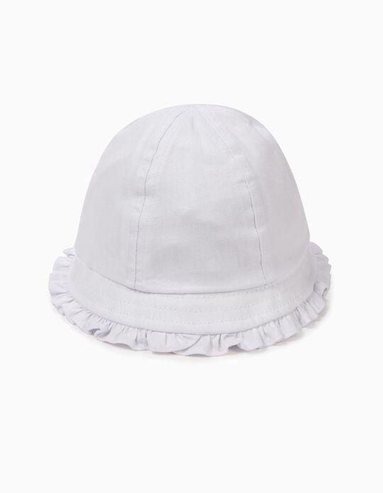 Sombrero para Bebé Niña con Volantes, Blanco