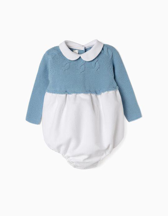 Combined Romper for Newborn, Blue/White