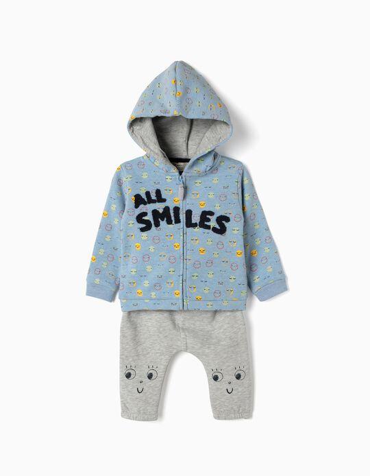 Fato de Treino para Recém-Nascido 'All Smiles', Azul e Cinza