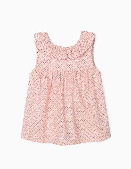 Blusa Estampada para Menina, Branco/Rosa