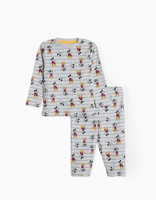 Pijama Riscas para Bebé Menino 'Mickey', Cinza