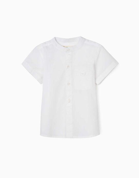 Shirt with Mandarin Collar for Baby Boys, White