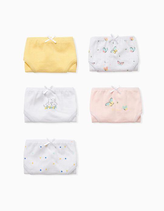 5 Briefs for Girls 'Dots, Cats & Butterflies', Multicoloured