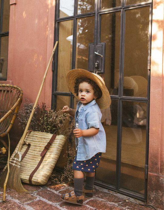 Denim Shirt for Baby Boys, 'Palm Tree', Blue