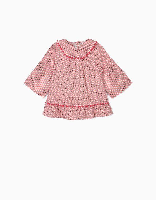 Vestido para Menina com Pompons, Rosa