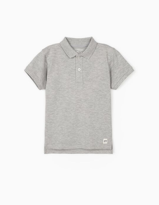 Short Sleeve Polo Shirt for Boys, Grey