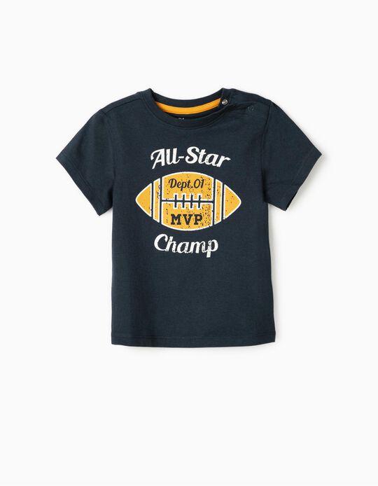 T-Shirt para Bebé Menino 'All Star Champ', Azul escuro