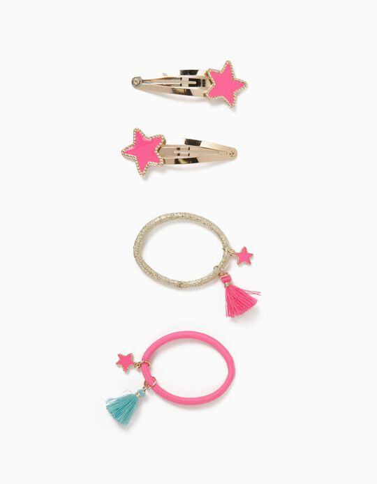 2 Hair Clips + 2 Bobbles for Girls, 'Starfish', Gold/Pink