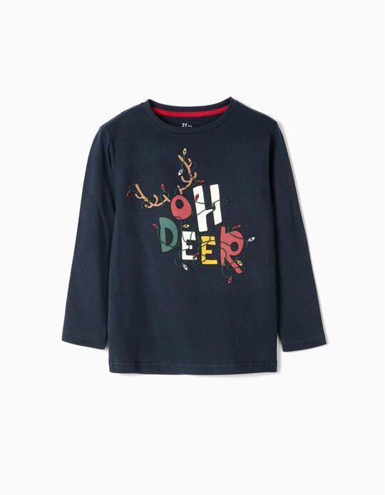 Camiseta de Manga Larga para Niño 'Oh Deer', Azul Oscuro