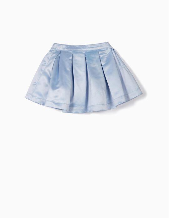 Falda con Pliegues Satinada para Niña, Azul