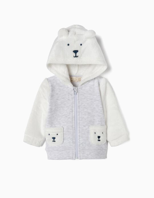 Combined Jacket for Newborn 'Teddy Bear', White/Grey