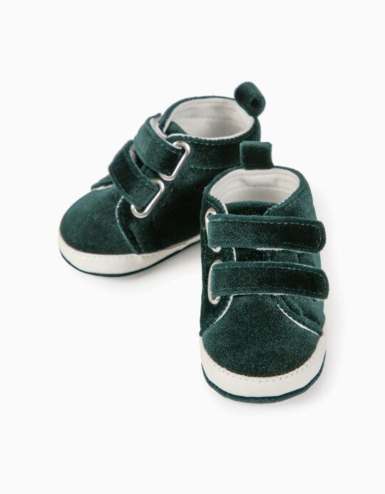Velvet Trainers for Newborn Girls, Dark Green