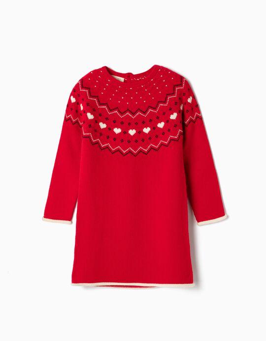 Vestido de Punto para Niña, Rojo