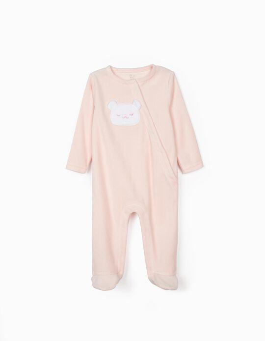 Babygrow Veludo para Bebé Menina 'Cute Bear', Rosa