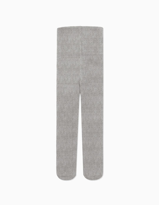 High-Waist Knit Tights for Newborn, Grey
