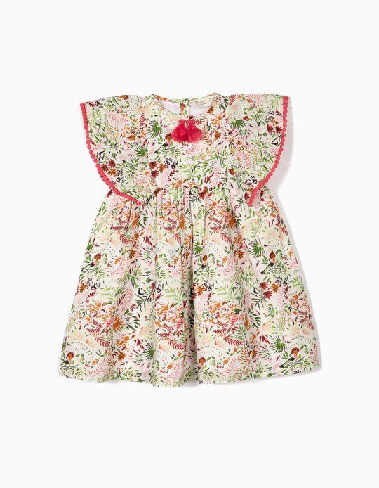 Vestido para Bebé Niña 'Flores' con Borlas, Blanco