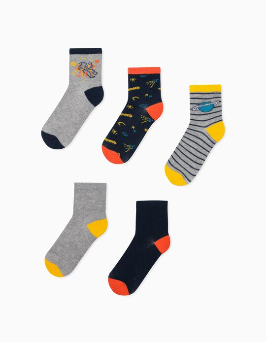 5 Pairs of Socks for Boys, 'Stripes & Planets', Multicoloured