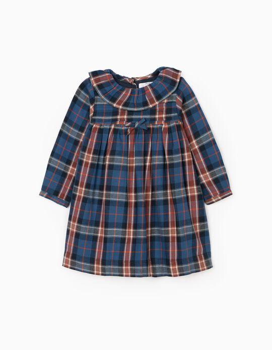Vestido Xadrez para Bebé Menina 'B&S', Azul/Laranja
