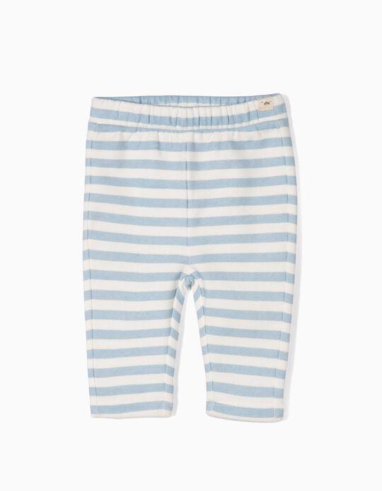 Pantalón de Punto para Recién Nacido a 'Rayas', Blanco y Azul