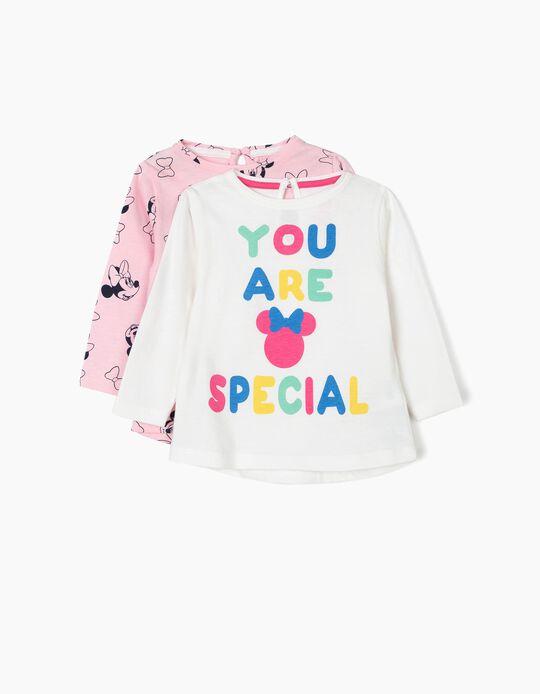 2 Camisetas de Manga Larga para Bebé Niña 'Special Minnie', Blanco y Rosa