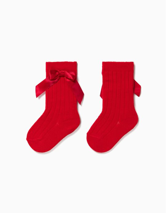 Rib Knit Knee High Socks with Bow for Baby Girls, Red