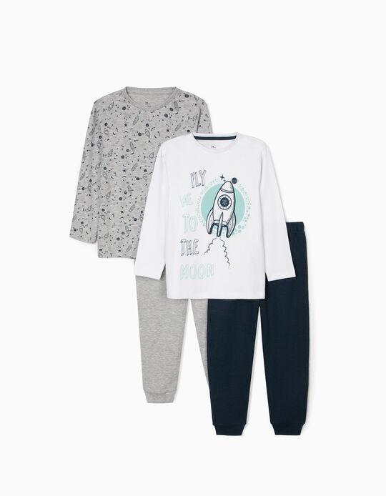 2 Pijamas para Niño 'To The Moon', Rosa/Blanco/Azul Oscuro