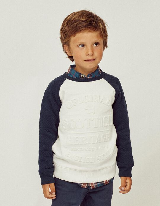 Camiseta para Niño 'Scottish', Blanco/Azul Oscura