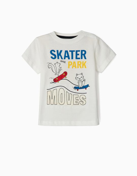 Camiseta de Manga Larga para Bebé Niño 'Skater Park', Blanca