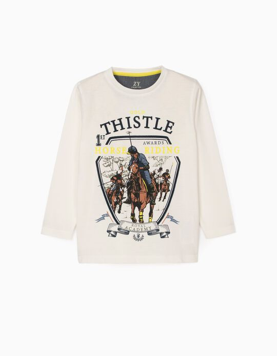 Long Sleeve T-Shirt for Boys 'Gold Thistle', White