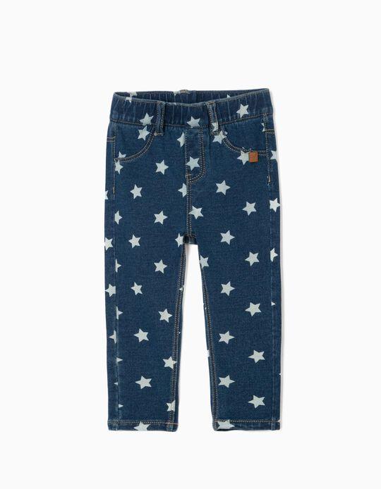Jeggings Denim para Bebé Menina 'Stars', Azul