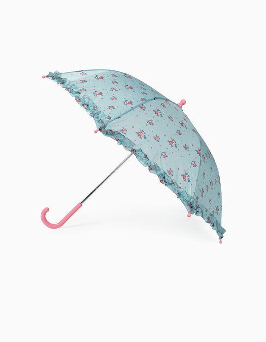 Guarda-Chuva para Menina 'Flores', Azul