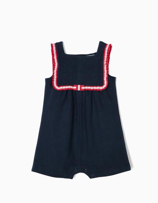 Macacão para Bebé Menina com Fita Plissada, Azul Escuro