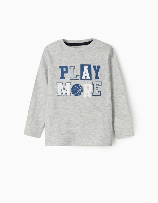 T-shirt Manga Comprida para Bebé Menino 'Play More', Cinza