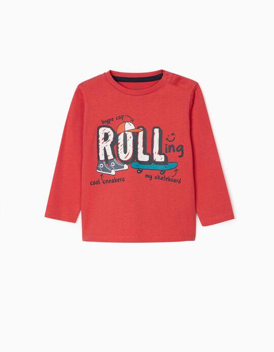 T-shirt Manga Comprida para Bebé Menino 'Rolling', Vermelho