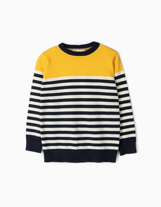 Camisola de Malha para Menino 'Riscas', Amarelo/Branco/Azul