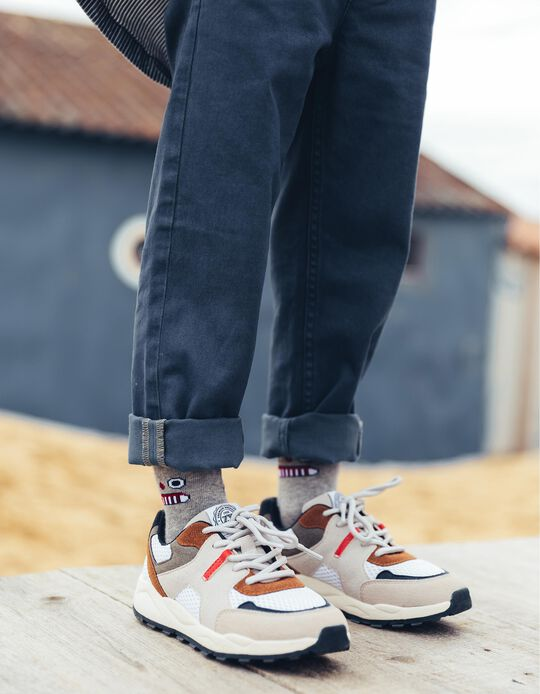 Zapatillas de dos Materias para Niño, Multicolor