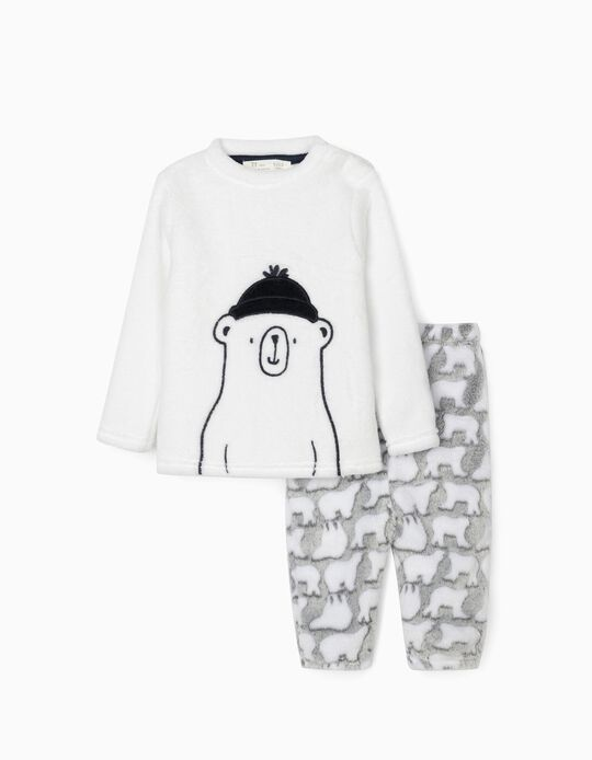 Pyjamas for Baby Boys 'Little Bear', White/Grey