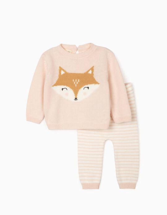 Pantalón + Jersey para Recién Nacida 'Baby Fox', Rosa Claro