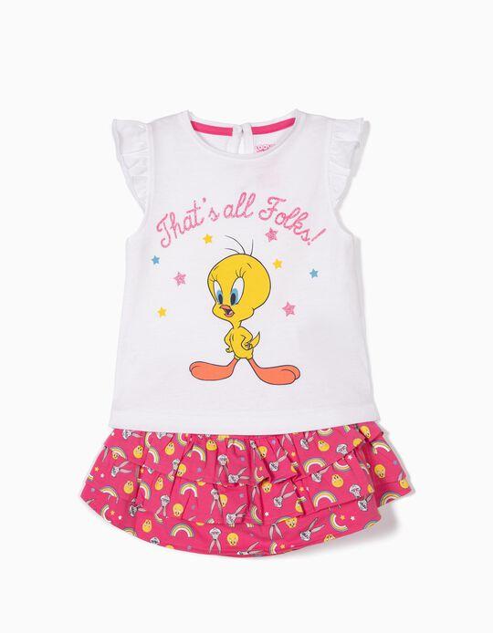T-shirt e Saia para Bebé Menina 'Tweety', Branco e Rosa
