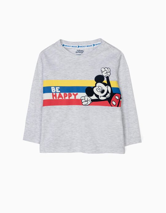 Camiseta de Manga Larga para Bebé Niño 'Mickey Be Happy', Gris
