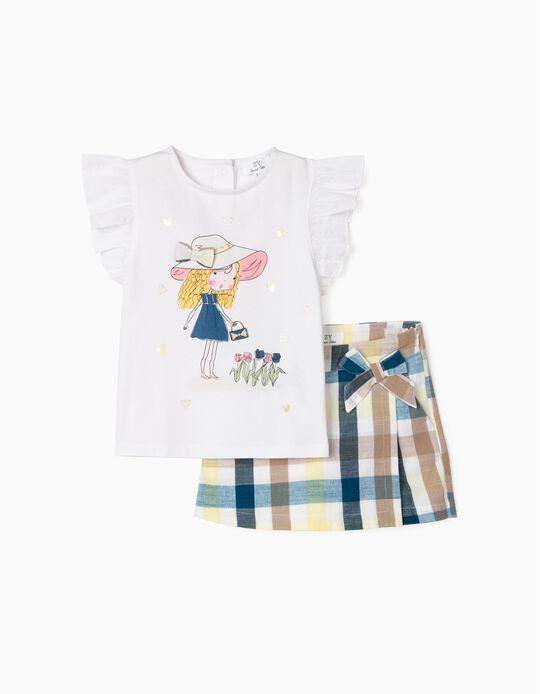 Camiseta y Falda Short para Niña 'Cute Girl', Blanco/Ajedrez