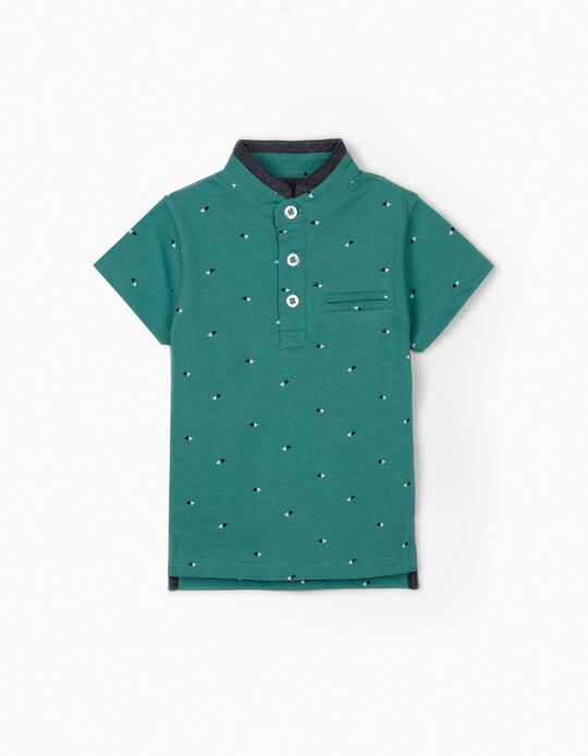 Polo Shirt with Mandarin Collar for Baby Boys, Teal