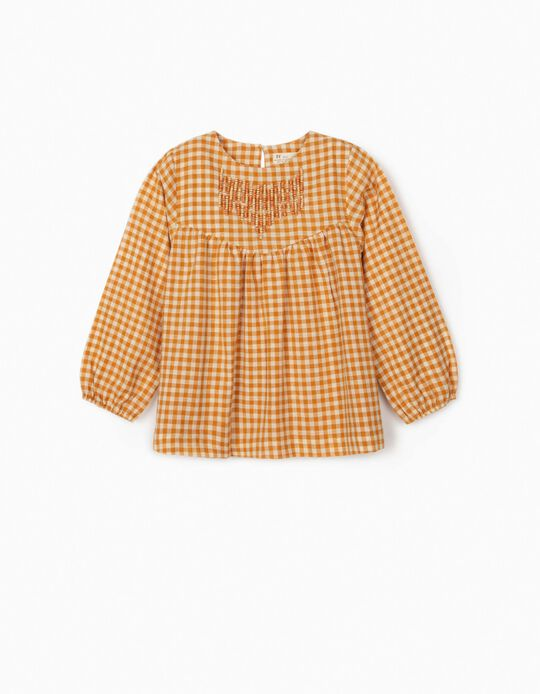 Gingham Blouse for Girls, Dark Yellow/White