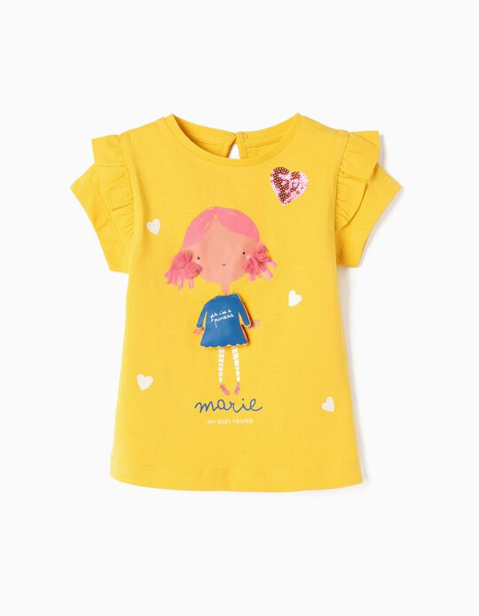 T-shirt para Bebé Menina 'Marie', Amarelo