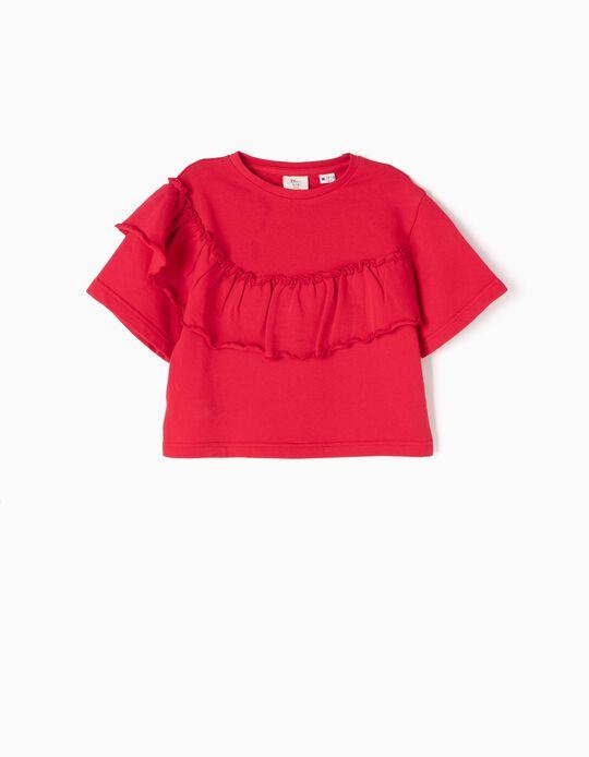 Sweatshirt Curta com Folho Vermelha