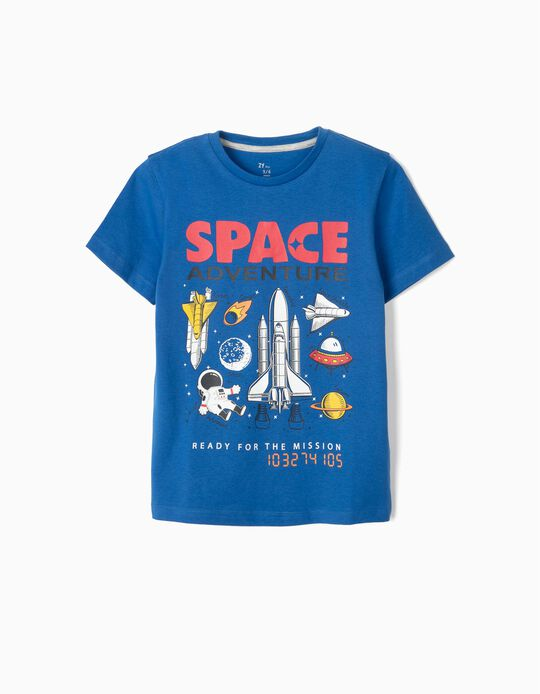 T-shirt para Menino 'Space Adventure', Azul