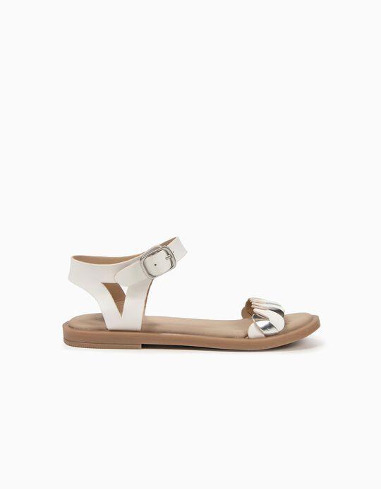 Sandálias Entrançadas para Menina, Branco e Prateado
